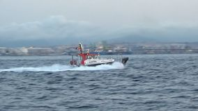 Pilot cutter boat of Algeciras harbor sailing to port. Pilot cutter of the port of Algeciras in the province of Cadiz in Spain, sailing full ahead in course to stock footage