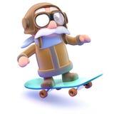 pilot 3d på en skateboard Arkivfoto