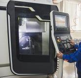 Pilot do TV panel metal maszyna - Przemysłowy pracujący manufactory Obrazy Royalty Free