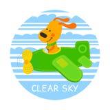 Pilot dog vector illustration Royalty Free Stock Photos