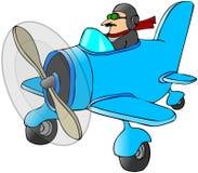 Pilot in einem kleinen Flugzeug stock abbildung