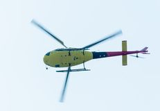Pilot of Eurocopter AS-350 on airshow. Bottom view Royalty Free Stock Image