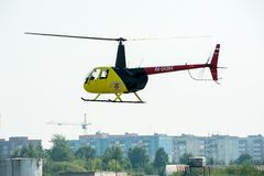Pilot of Eurocopter AS-350 on airshow Stock Image