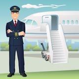 Pilot för kommersiella flygbolag med bakgrunden av flygplanet stock illustrationer