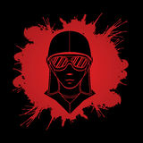 Pilot. Face designed on splatter blood graphic vector Royalty Free Stock Images