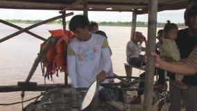 Pilot, ferry boat,  mekong,  cambodia, southeast asia stock video