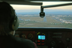 Pilot on final. Pilot in final trajectory to runway Royalty Free Stock Photography
