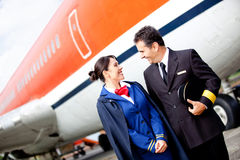 Pilot and flight attendant Royalty Free Stock Photography