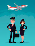 Pilot and a flight attendant. On a background of an airplane taking off. Vector illustration of a flat design Stock Photography