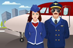 Pilot and Flight Attendant in Front of the Airplane. A vector illustration of pilot and flight attendant standing in front of the airplane Stock Images