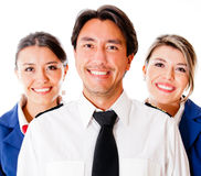 Pilot and flight attendants Stock Photo