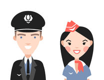 The pilot and flight attendants vector set Stock Photos