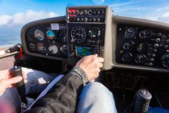 Free Pilot Flying A Private Sport Airplane Stock Image - 116256991