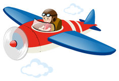Pilot flying red airplane. Illustration Royalty Free Stock Photography