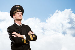 Pilot is in the form of arms crossed Royalty Free Stock Photo