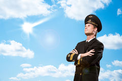 Pilot is in the form of arms crossed Royalty Free Stock Photos