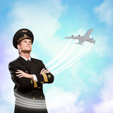 Pilot is in the form of arms crossed Royalty Free Stock Image
