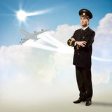 Pilot is in the form of arms crossed Stock Images