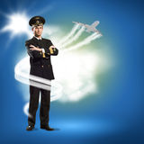Pilot is in the form of arms crossed Royalty Free Stock Images