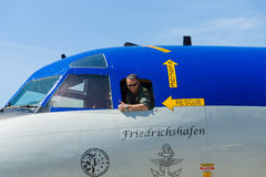 The pilot of the four-engine turboprop anti-submarine and maritime surveillance aircraft Lockheed P-3C Orion. BERLIN, GERMANY - MAY 21, 2014: The pilot of the Royalty Free Stock Photography
