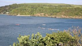 Pilot gig boat rowing and racing event at Salcombe Devon England UK stock footage