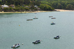 Pilot Gig Racing rowing event at Salcombe Devon England uk on Sunday 31st May 2015 Stock Photography
