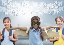 Pilot girl and other kids with bright background and planes graphics Royalty Free Stock Photos