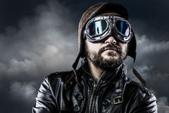 Pilot with glasses and vintage hat with proud expression Stock Photography