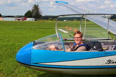 Pilot in glider L-13 Blanik Stock Image