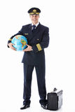 The pilot of a globe and suitcase Royalty Free Stock Photos
