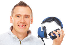Pilot with headset Royalty Free Stock Image