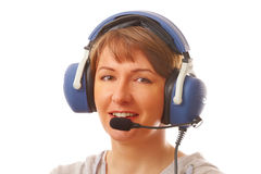 Pilot with headset Stock Image