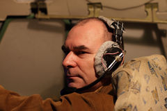 Pilot in headset with microphon Royalty Free Stock Photo