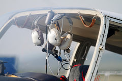 Pilot headsets Stock Photography