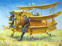 Pilot and his plane. The oil painting (80x60 cm) of the pilot and his fantastic two propeller retro airplane. The pilot looks directly at camera Stock Image