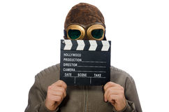 The pilot holding movie clapboard on white Stock Photos
