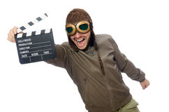 The pilot holding movie clapboard on white Royalty Free Stock Photo
