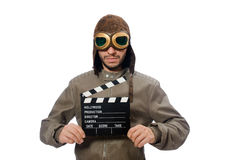The pilot holding movie clapboard on white Royalty Free Stock Photos