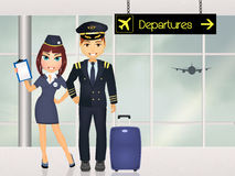 Pilot and hostess in the airport. Illustration of pilot and hostess in the airport Royalty Free Stock Image
