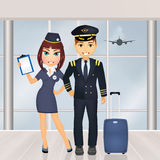 Pilot and hostess in the airport. Illustration of pilot and hostess in the airport Royalty Free Stock Photos