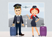 Pilot and hostess. Illustration of pilot and hostess Stock Photo