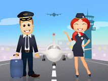 Pilot and hostess. Illustration of pilot and hostess Royalty Free Stock Image