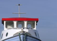 Pilot house. On a small fisching cutter against a bright blue sky stock photos