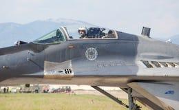 Pilot i stödjepunkten Mig-29 Arkivfoto