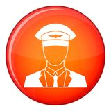 Pilot icon, flat style. Pilot icon in red circle isolated on white background vector illustration Royalty Free Stock Photo