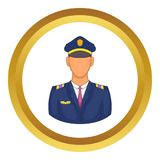Pilot icon. In golden circle, cartoon style isolated on white background royalty free illustration