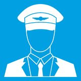 Pilot icon white. Isolated on blue background vector illustration Royalty Free Stock Images