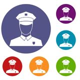 Pilot icons set. In flat circle reb, blue and green color for web Stock Photos