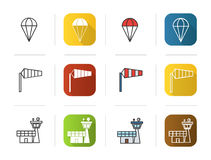 Pilot icons set. Flat design, linear and color styles. Parachute, airport windsock, flight control tower symbol Stock Images