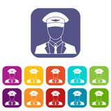 Pilot icons set. Vector illustration in flat style in colors red, blue, green, and other Stock Image